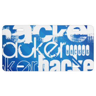 Hacker; Royal Blue Stripes License Plate