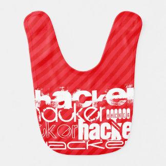 Hacker; Scarlet Red Stripes Baby Bib