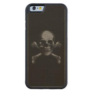 Hacker Skull and Crossbones Carved Maple iPhone 6 Bumper Case