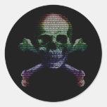 Hacker Skull and Crossbones Round Sticker