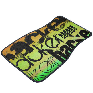 Hacker; Vibrant Green, Orange, & Yellow Floor Mat