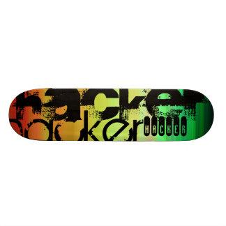 Hacker; Vibrant Green, Orange, & Yellow Skateboard Decks