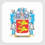 Hackwell Coat of Arms - Family Crest Square Stickers