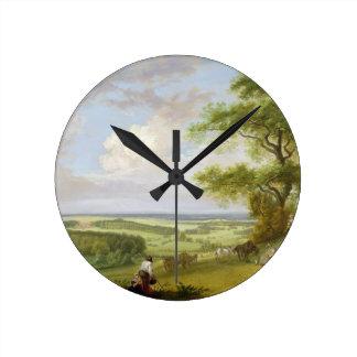Hackwood Park, Hampshire (oil on canvas) Round Clock