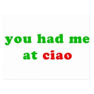 had me at ciao postcard