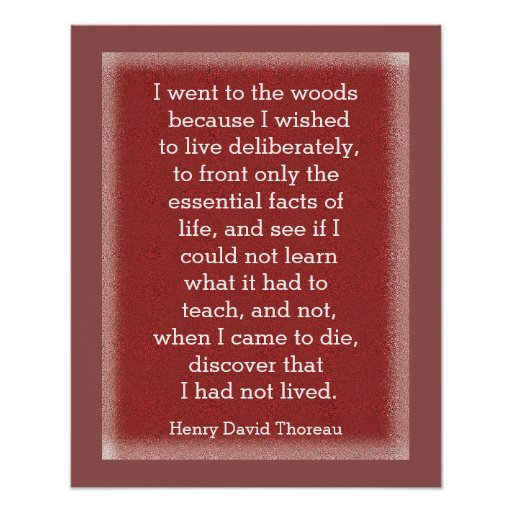 Had not lived - Thoreau quote - art print