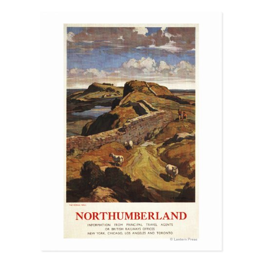 Hadrian's Wall and Sheep British Rail Poster Postcard