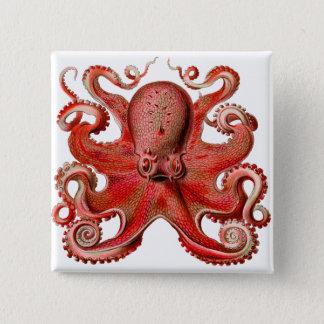 Haeckel Octopus Red 15 Cm Square Badge