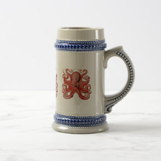 Haeckel Octopus Red Beer Stein