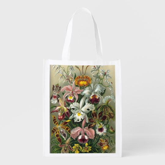 Haeckel Orchidaceae Orchids Reusable Grocery Bag