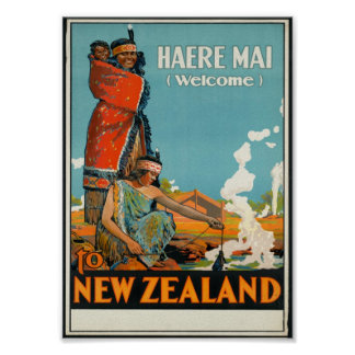 Haere Mai, Welcome to New Zealand Poster