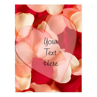 haert and rose petals plain postcard