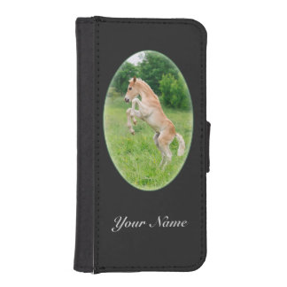 Haflinger horse a cute foal rearing iPhone SE/5/5s wallet case