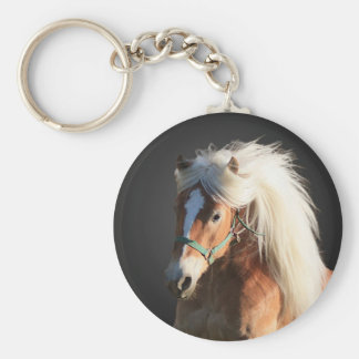 Haflinger Horse Basic Round Button Key Ring