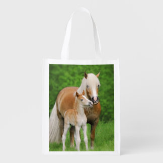 Haflinger Horse Cute Baby Foal Kiss Mum Pony Photo Reusable Grocery Bag