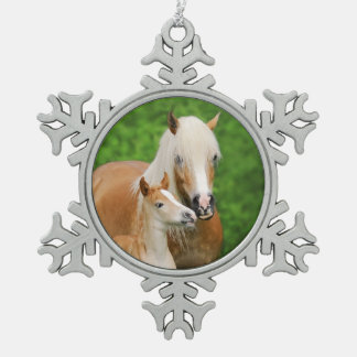 Haflinger Horse Cute Baby Foal Kiss Mum Pony Photo Snowflake Pewter Christmas Ornament