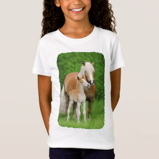 Haflinger Horse Cute Baby Foal Kiss Mum Pony Photo T-Shirt