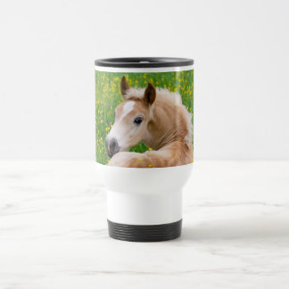 Haflinger Horse Cute Foal in a Flowerbed Thermocup Travel Mug
