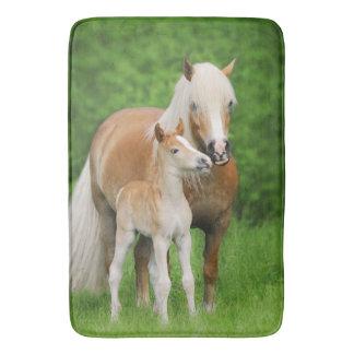 Haflinger Horse Cute Foal Kiss Mum Photo - Large Bath Mats