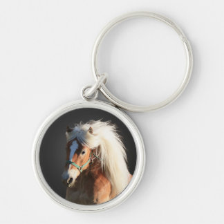 Haflinger Horse with beautiful mane Silver-Colored Round Key Ring