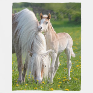 Haflinger Horses Cute Baby Foal With Mum Photo - Fleece Blanket