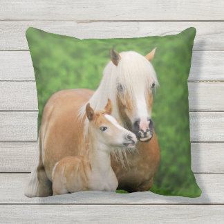 Haflinger Horses Cute Foal Kiss Mum - for Outside Throw Pillow