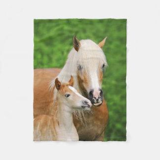 Haflinger Horses Cute Foal Kiss Mum Funny - soft Fleece Blanket