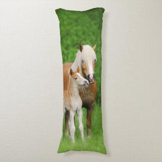 Haflinger Horses Cute Foal Kiss Mum Photo - cuddly Body Cushion