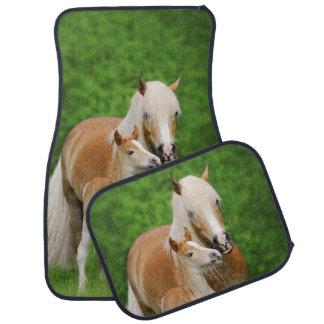 Haflinger Horses Cute Foal Kiss Mum Photo Floor Mat