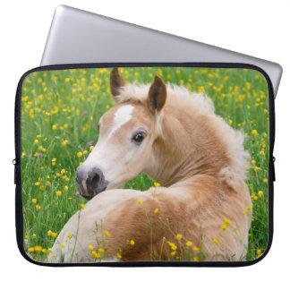 Haflinger Pony Horse Cute Foal in Flowerbed Photo Laptop Sleeves