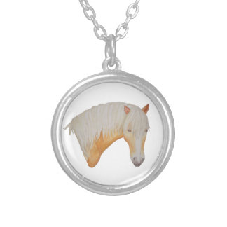 Haflinger Watercolor Necklace. Silver Plated Necklace