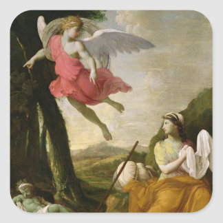Hagar and Ishmael Rescued by the Angel, c.1648 Square Stickers