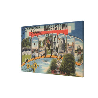 Hagerstown, Maryland - Large Letter Scenes Canvas Print