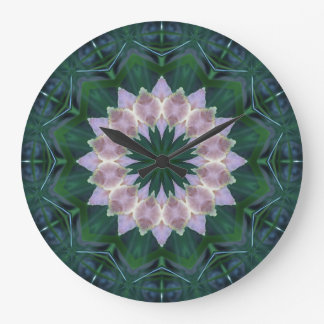 Hagi Mandala green/pink Clock large round