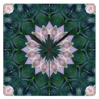 Hagi Mandala green/pink Clock square