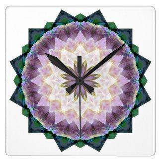 Hagi Mandala pink/green Clock square