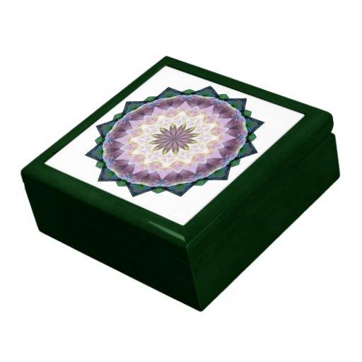 Hagi Mandala Tile-top Wood Box Trinket Boxes