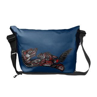 Haida Art Otter Native American Design Messenger Courier Bags
