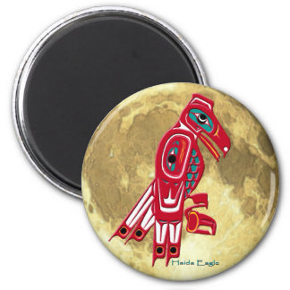 HAIDA EAGLE & FULL MOON Native American Art Magnet
