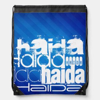 Haida; Royal Blue Stripes Drawstring Backpack