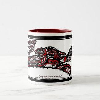 """HAIDA SPIRIT MUG"" Native American-style Otter Art Two-Tone Mug"