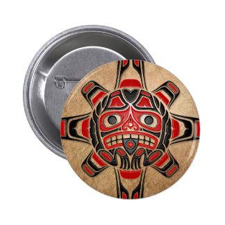 Haida Sun Mask 6 Cm Round Badge