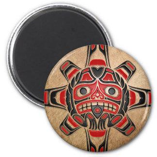 Haida Sun Mask 6 Cm Round Magnet
