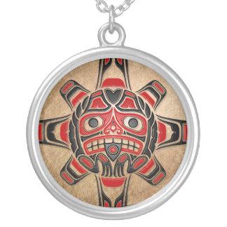 Haida Sun Mask Round Pendant Necklace