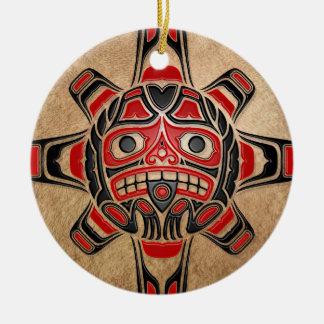 Haida Sun Mask Round Ceramic Decoration
