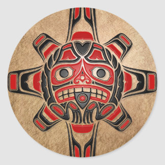 Haida Sun Mask Round Sticker