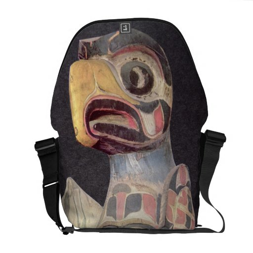 Haida 'Thunderbird' statue (painted wood) Courier Bags