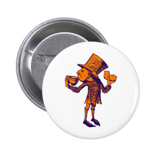 Haigha (Mad Hatter) Inked Purple Orange 6 Cm Round Badge