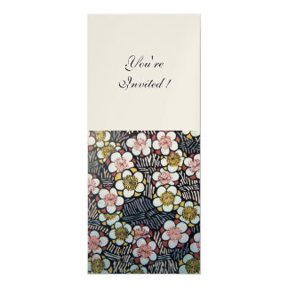 HAIKU/ BLACK WHITE YELLOW PINK SPRING FLOWERS 10 CM X 24 CM INVITATION CARD