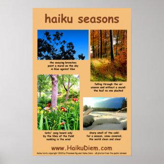 Haiku Seasons poster (peach background)